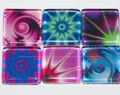 Swirl Magnets - Set of 6 Square Glass Magnets in Assorted Vibrant Colors (S2)