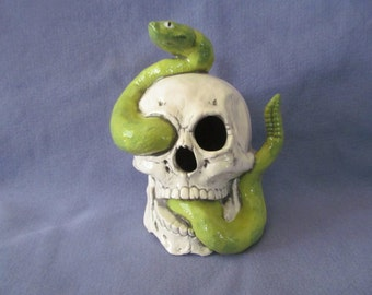 Ceramic Skull with Snake - Aquarium Decoration