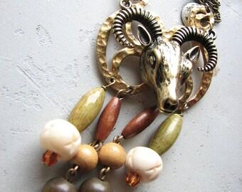 Bohemian necklace | long | boho | ram head | wood pendant | final sale