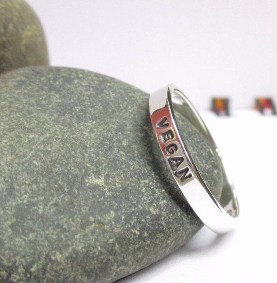 Skinny stacking ring for world vegan day, sterling silver.