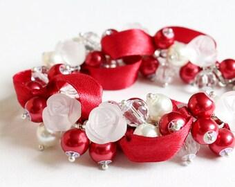 Red White Rose Cluster Bracelet and Earrings Set