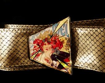 Art Nouveau Mucha Belt buckle with gold leather belt