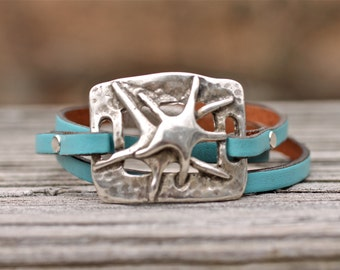 Starfish Bracelet , Leather Wrap Bracelet , Best Seller , Amy Fine Design