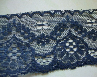 """2 Yards of 1.5"""" Wide Gunmetal Blue Hand Dyed Lace Scalloped Lace Lingerie Lace Headband Hair Accessories ST"""