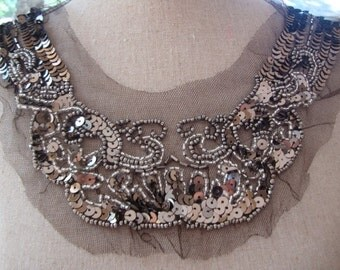 Edwardian Style Antique Style Neckline Applique Embellishment Necklace Black Tulle Grey Beads Silver Beads S119
