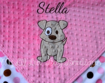 Personalized baby blanket- hot pink and brown dot puppy- stroller blanket