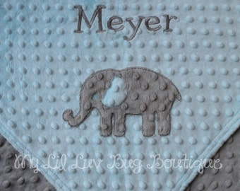 personalized minky baby blanket- aqua blue and grey elephant- stroller blanket