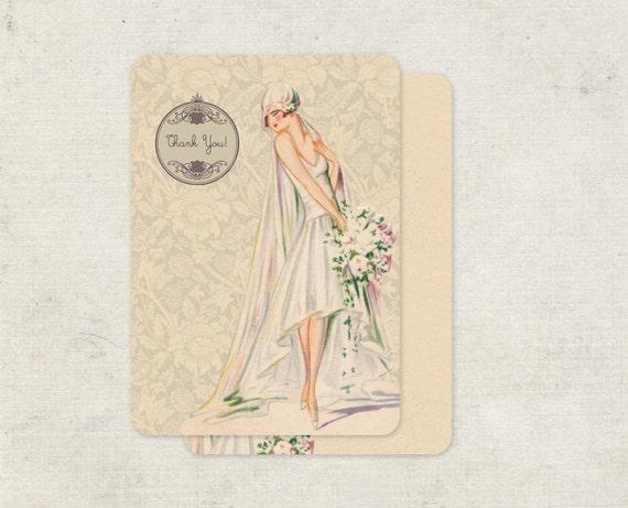 Bridal Shower Thank You Cards set of 10 Vintage Inspired Blushing Bride
