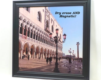 Magnet Board - Wall Decor- Magnetic Board - Dry Erase Board - Bulletin Board - Office Organizer - St. Mark's Square Design -magnets included