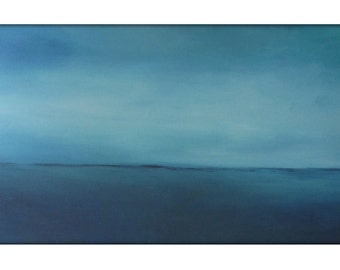 Large Abstract Painting on Canvas Modern Acrylic Skyline- 24x48- Grays, Blues, Whites and more