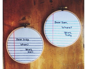 moonrise kindgom love notes / suzy and sam / letters / quotes / wes anderson / cross stitch embroidery hoops / gifts / rugglesmade