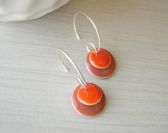 Modern Earrings - Enamel Jewelry, Orange, Mauve, Pink, Colorful, Geometric, Simple, Silver Hoops