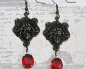 Red Glass Earrings Cherry Red Crystal Oxidized Funky Brass Aphrodite Goddess Red Jewelry