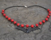 Sale Use PromoCode for Discount Red Coral Bat Necklace