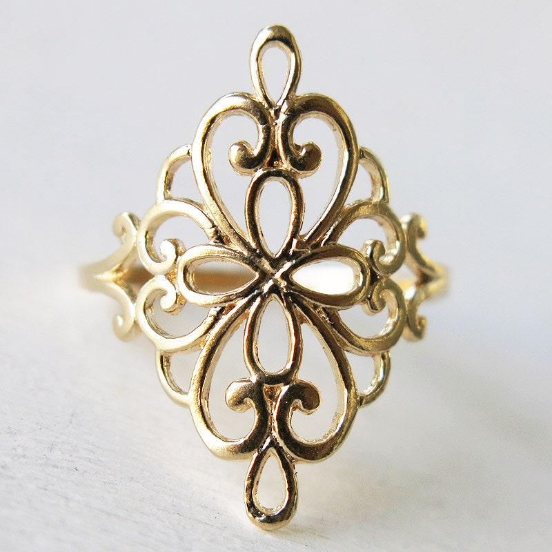 gold ring lace ring filigree ring gold lace ring by sohocraft