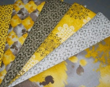 Melrose from Fabri-Quilt -- Six Half Yard Cuts of Coordinating Modern Yellow/Gold and Gray Quilt Fabric