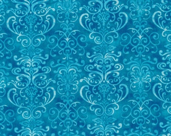 Winter Blues from Fabri-Quilt - Turquoise Blue Ornate Quilt Fabric