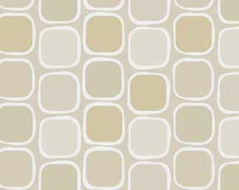 Classical Elements P&B Textiles - Modern Geometric/Squares Neutral Tan, Taupe and White Quilt Fabric Geometric