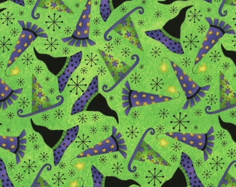 Hocus Pocus from RJR Fabrics - Halloween Witches Hats on Green