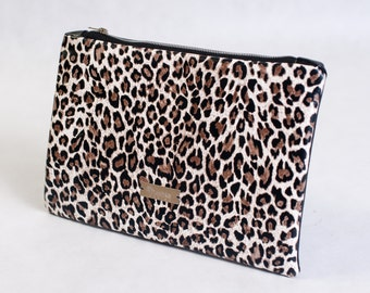 Leopard leather clutch purse
