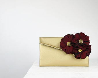 Burgundy and gold bridesmaid clutch/burgundy wedding purse