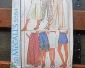 Vintage 1977 McCalls Sewing Pattern 5584 for Skirts, Palazzo Pants, Culottes and Shorts