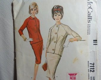 1963 Suit Slim Skirt & Jacket with 3/4 Length Sleeves- Vintage 60s McCall's Sewing Pattern 7112- Size 12 Bust 32 CUT, Jackie Kennedy Style