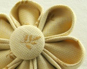 Flower Brooch Pale Yellow Leaf Pattern Kanzashi with Matching Button, Fashion Accessory
