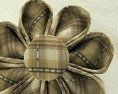 Tan Plaid Silk Kanzashi Flower Pin with Matching Button, Fall Fashion Accessory