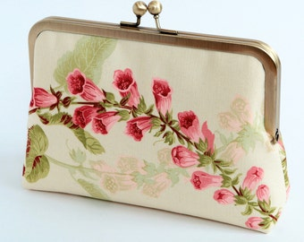 Cream Floral silk lined floral clutch, Bag Noir, Bridesmaid clutch, Weddings bride formal clutch purse