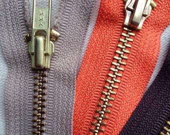 """12"""" Brass YKK Zippers lot of 4"""