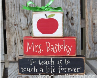 Personalized Teacher gift wood block set End of School Year, Birthday, Christmas, Teacher, Secretary Gift with Name Block