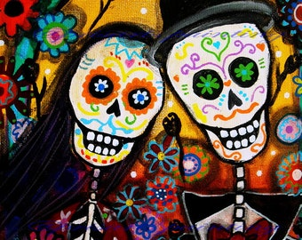 Mexican WEDDING Couple Day of the Dead Bride and Groom Painting PRINT by Pristine Turkus