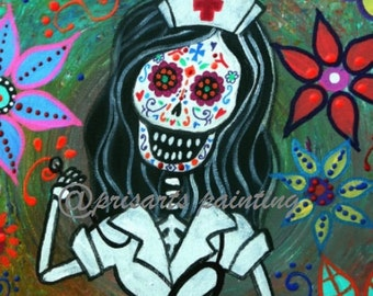 Mexican My Favorite NURSE Day of the Dead  Painting PRINT by Pristine Turkus