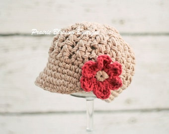 Crochet Toddler hat for Girls, Hats for Toddlers, Tan Girl's Hat, Crochet Newsboy Hat, Jute, Red, Cotton, 12 Months to 4T