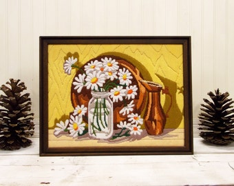 Vintage Framed Crewel Stitched Needle Art--Handstitched Daisy Bouquet-- Crewelwork on Canvas--Copper Pot and Plate