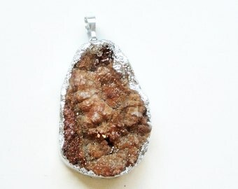 Brown Druzy Geode Pendant - Natural Crystal Drusy Teardrop - Electroplated Silver - Semiprecious - Diy Jewelry - With/ Without Chain