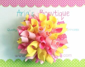 Medium Pink Lemonade Korker Hair Bow