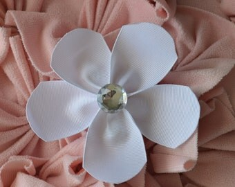 White large flower ribbon alligator hair clip with clear rhinestone bling
