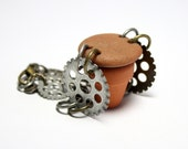 Steampunk Bracelet Jewelry Beach Stone : GEARS Link Pebble Statement Jewelry Bracelet Mixed Metal Work Antique Gold Brass Silver