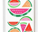 "Watermelon Paradise print  / White 11""x15"" - archival fine art giclée print"