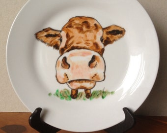 Hand painted Cow on a Plate. Non-toxic and dishwasher safe.