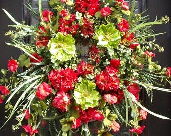 Spring Wreath, Poppy Wreath, Hydrangea Wreaths, Spring Door Wreath, Summer Wreath, Wild Red Wreaths