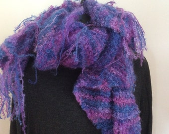 SOFTEST LIGHTEST Mauve WRAP, beautiful New Zealand Wool,  wear as scarf with super duper fringe