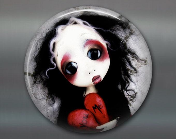 "3.5"" gothic doll fridge magnet, large magnet, kitchen decor, gothic art decor, housewarming gift art magnet MA-AD61"