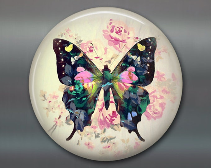 "3.5"" butterfly refrigerator magnet butterfly decor, cottage chic spring decor, kitchen decor, large magnet stocking stuffer MA-364"