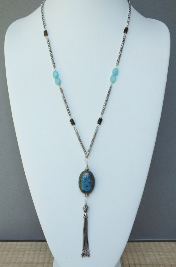 Tasseled Silver Necklace with Porcelain Pendant, Faceted Amazonite and Turkish Tassel- NK 111