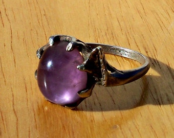 SALE Arts and Crafts Amethyst Cabochon Ring Sterling Silver Prong Setting Vintage Size 6 6.5