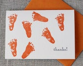 Letterpressed Baby Feet 'Thank You' Card