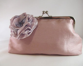Pink Clutch Purse-Purse-Handbag-Rose-Kisslock-8 inch